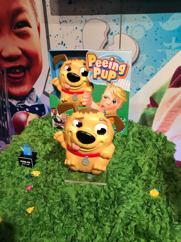 Peeing Pup at the Hasbro Showroom
